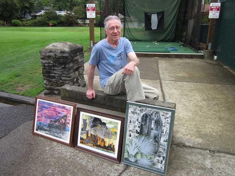 by: BARBARA SHERMAN - CREATIVITY UNLEASHED - Ross Eberts, who has a number of paintings hanging inside the King City Pro Shop, displays a few outside the shop while anticipating his participation in the upcoming Calvin Presbyterian Church's Celebrate the Gifts Art Festival.