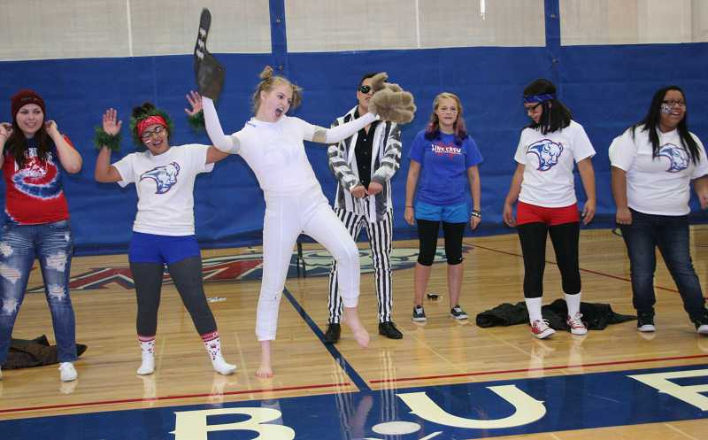 by: SUSAN MATHENY/THE PIONEER - MHS senior Megan Forristall, center, dances with classmates Monique Ashwill, left, Leticia Palacios, Chaz Borja, Brittany Alperstein and Viany Garcia during the lip sync contest.
