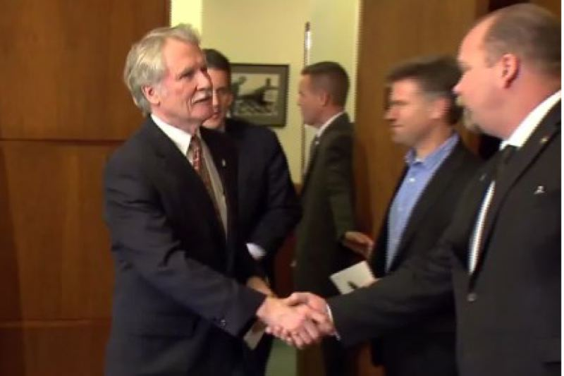 by: KOIN 6 NEWS - Oregon Gov.John Kitzhaber prepares to address the media at the Special Session of the Oregon Legislature at the State Capitol in Salem.