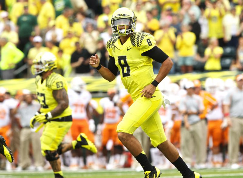 by: TRIBUNE PHOTO: JAIME VALDEZ - Quarterback Marcus Mariota and the Oregon Ducks have their biggest game of the season coming up this week. They'll play Washington at Husky Stadium at 1 p.m. Saturday.