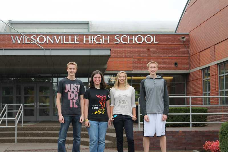 by: SPOKESMAN PHOTO: KATE HOOTS - From left, Jacob Uselman, Karen Harper, Madelyn Green and Zach Uselmen earn recognition for their strong performance on the PSAT. Amy Paquin, not pictured, also received recognition.