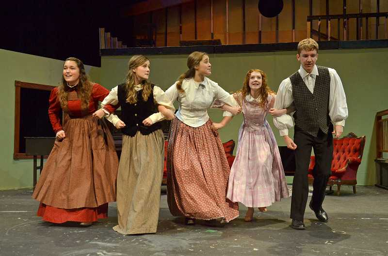 by: PAMPLIN MEDIA GROUP: VERN UYETAKE - In the play, four sisters form a bond with their neighbor, Laurie. From left: Angela Garrett, Madison Pintar, Rachel Hawkins, Hayley Rouselle and Aaron Gilbert.