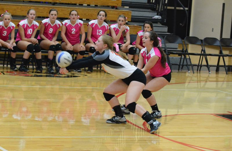by: TIMES PHOTO: MATT SINGLEDECKER - Beaverton junior Sarah Tantare digs out a Southridge spike in the third game of the Beavers loss on Thursday.