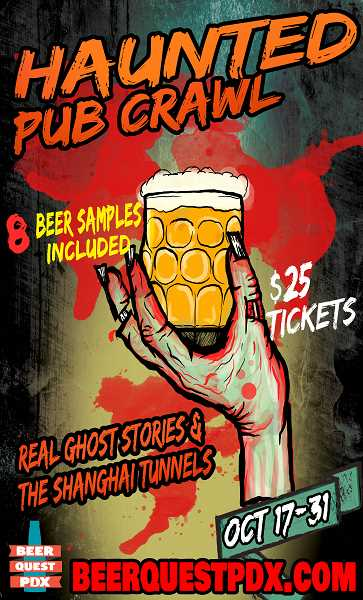 by: SUBMITTED PHOTO  - Lake Oswegos Tyler Craven, creative director of BeerQuest, is offering Haunted Pub Crawls from Oct. 17 through Nov. 2, which tour haunted bars in Portland.