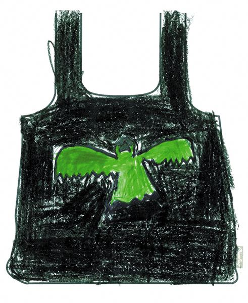 by: COURTESY OF CHICOBAG - Reusable bag with ghoulish bat drawing