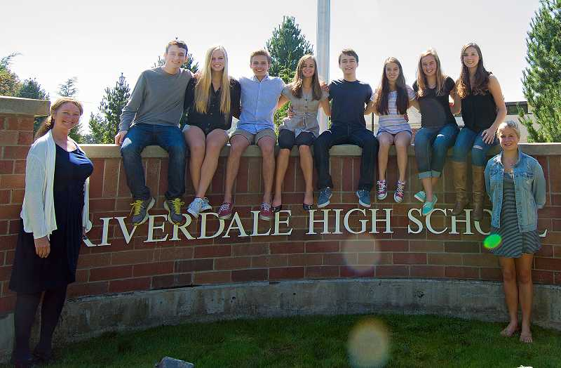 by: SUBMITTED PHOTO: TAL VOLK - Riverdale Principal Paula Robinson stands by this years Bridges to India travelers who are, from left: Tal Volk, Holly Scrugham, Spencer Singer, Madeline Hauenstine, Nate Klein, Madeline Chew, Madeline Whitlock, Caroline Edwards and Isabelle Gilges.