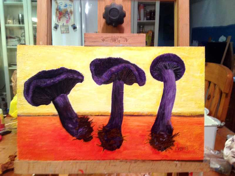 by: CONTRIBUTED - Area artists are hard at work preparing for the Festival of the Fungus Art Show. Here is one of festival co-founder Eileen Belanger's paintings that will hang in the show.