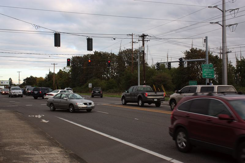 by: HILLSBORO TRIBUNE PHOTO: DOUG BURKHARDT - Are city officials underestimating the traffic needs of South Hillsboro, which is south of this busy intersection of Tualatin Valley Highway and Cornelius Pass Road?