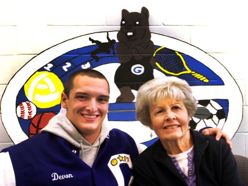 by: OUTLOOK PHOTO: JIM CLARK - Devon Shields, a Gresham High senior, nominated his great-grandmother, Norine Olson, to be the 2013 homecoming grand marshal.