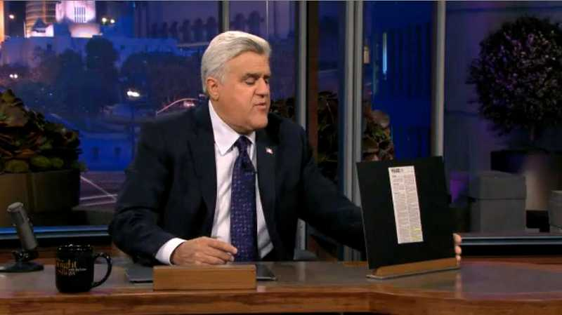 Jay Leno, host of 'The Tonight Show' reads an entry in an Aug. 29 issue of The Times during his most recent segment of 'Police Blotter.' The entry was submitted by a Times reader