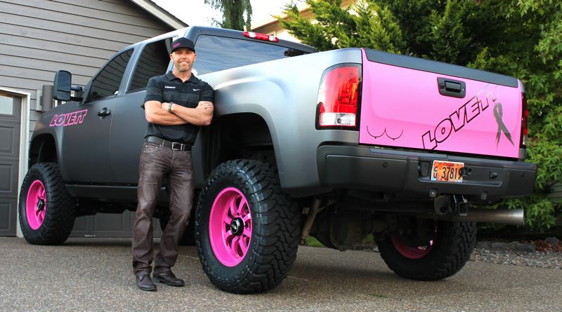 by: OUTLOOK PHOTO: ANNE ENDICOTT - Dale Lovett plans to drive his pinked out truck through the month of October as part of Breast Cancer Awareness Month.