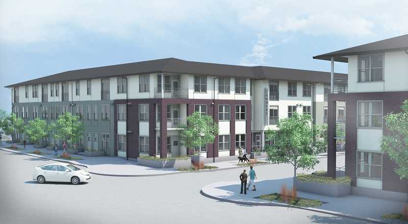 by: COURTESY OF CAPSTONE PARTNERS LLC - Cannery Row, the new 101-unit complex that will bisect Highland Drive, will begin officially taking tenants on Dec. 1. Currently, the leasing office is compliing an interest list, which already has 30 potential tenants listed.