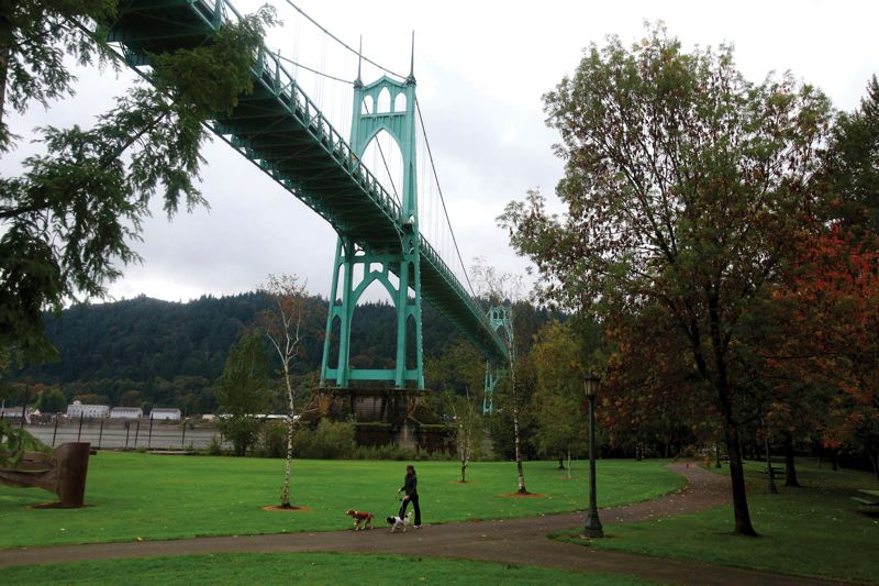 by: PAMPLIN MEDIA GROUP: JONATHAN HOUSE - Bikers and hikers might one day take the North Portland Greenway Trail from inner-east Portlands waterfront all the way to Cathedral Park, shown here at the base of the St. Johns Bridge, and on to the Columbia River at Kelley Point Park.