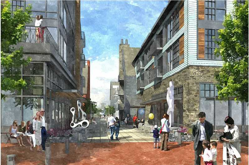 by: SUBMITTED IMAGE: ZGF ARCHITECTS - A pedestrian street would run through the proposed redevelopment of the Wizer block downtown.