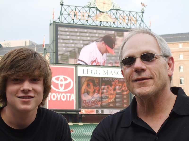 by: SUBMITTED PHOTO: JIM SCHAUB - Jim Schaub, right, and his son, Scott, checked Camden Yards in Baltimore off their list in 2008.
