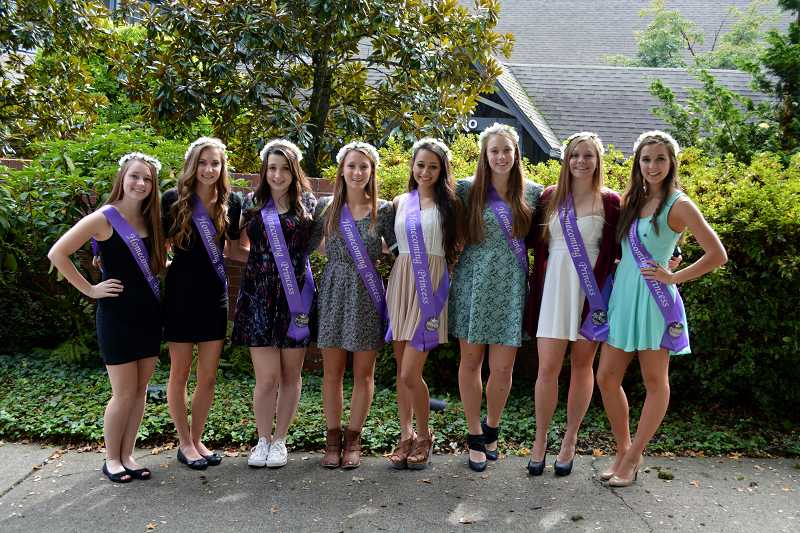 by: SUBMITTED PHOTO: SOPHIE RICHARDS - The homecoming court members were, from left, freshman Rachel Kuhnert, freshman Maia Insinga, sophomore Emily Klaebe, sophomore Ann Monroe, junior Corina Pigg, junior Emma Bartel, senior Bailey Morris and senior Megan Johansen.