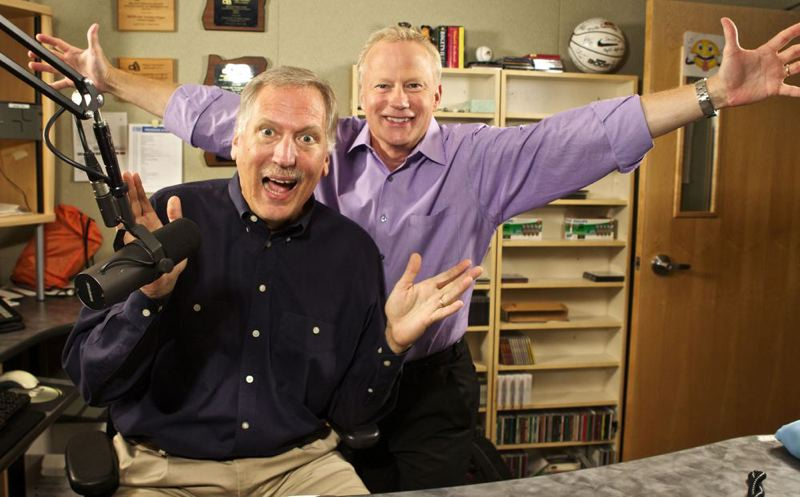 (Image is Clickable Link) by: TRIBUNE PHOTO: JAIME VALDEZ - Mark Mason and Dave Anderson return to the radio broadcast booth Monday, Oct. 21, with their popular Mark & Dave show on KPAM 860 AM. Their longtime show on KEX abruptly left the airwaves in late July.