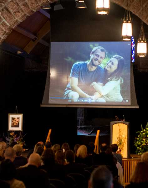 by: NEWS-TIMES PHOTO: CHASE ALLGOOD - Friends and family members packed the Walters Cultural Arts Center to celebrate the life of Ryan Horn Sunday.