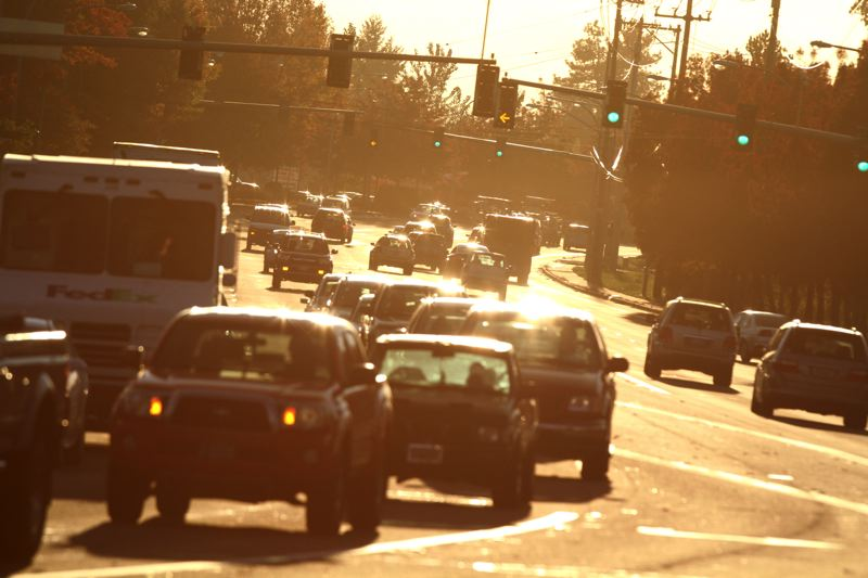 by: JONATHAN HOUSE - Traffic builds up at rush hours along the busy Tualatin-Sherwood Road. TriMet is working to improve transit connections in that part of Washnigton County.