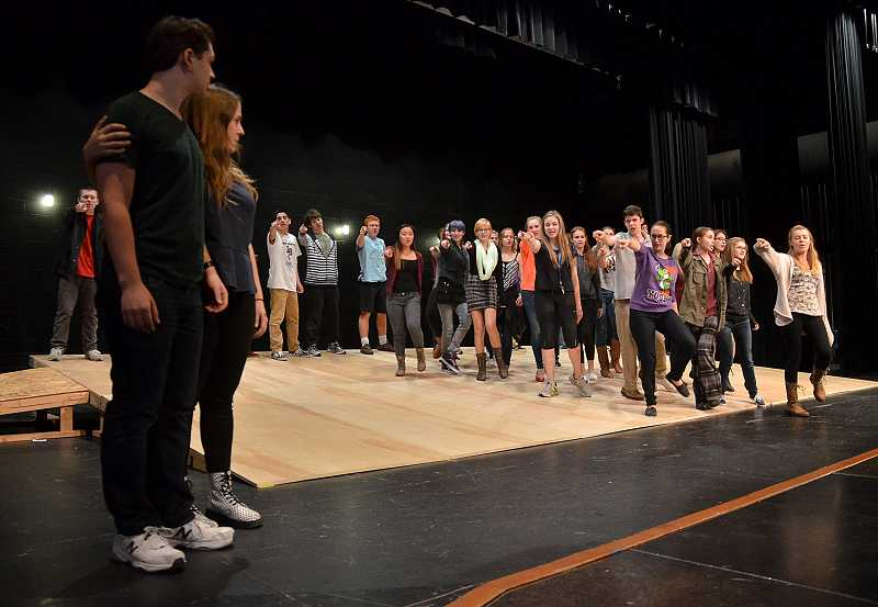 by: REVIEW PHOTO: VERN UYETAKE - Director Bob McGranahan said his student actors are doing great work while preparing for their November performances of Honk! at Lake Oswego High School.