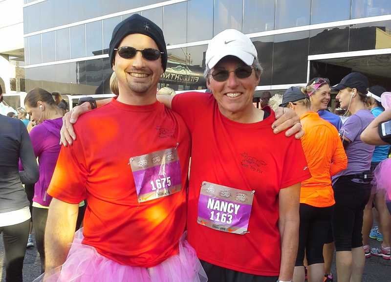 Gary Richards, left, with his mom Nancy Richards, get ready to run in a 10K race for the cure.