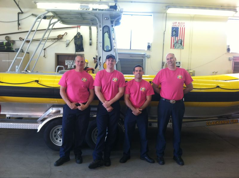 by: PHOTO COURTESY: CLACKAMAS FIRE - Clackamas Fire District's aquatic team celebrates Breast Cancer Awareness Month on Oct. 23.