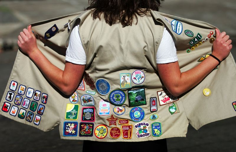by: OUTLOOK PHOTO: JIM CLARK - Palmiter, who now attends St. Martins University in Lacey, Wash., has lost track of how many merit badges she earned after joining the Girl Scouts in third grade.
