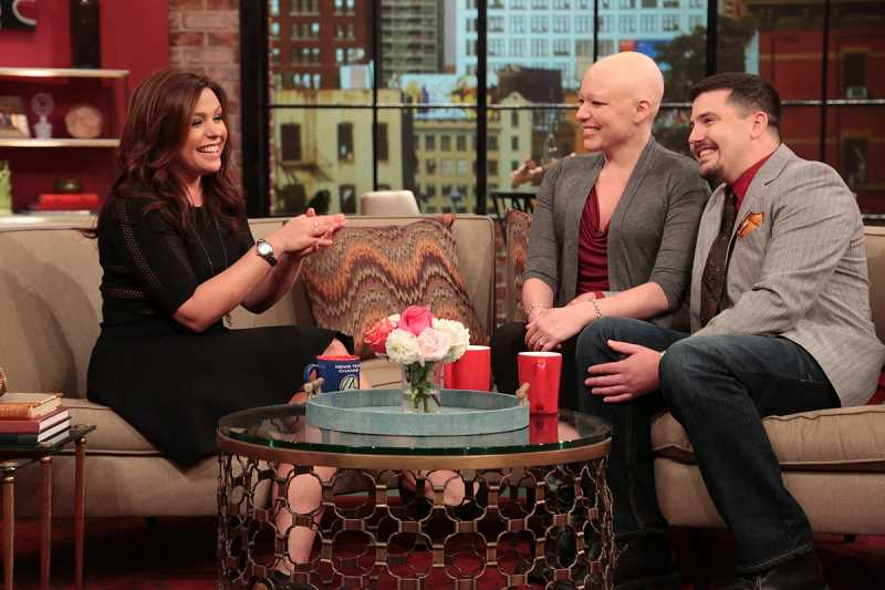 by: THE RACHAEL RAY SHOW - Tracie Benjamin was as natural as can be while talking to celebrity chef Rachael Ray on national TV. From left are Ray, Benjamin and Benjamins fiancé, Ryan Conner.