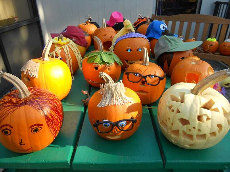 by: SUBMITTED - Three Rivers Charter School students hard work shows in the details of the self-portrait pumpkins they created.