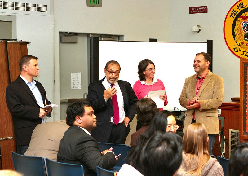 by: DAVID F. ASHTON - Before the Woodstock Language Immersion program meeting at Woodstock Elementary School, PPS Senior Policy Advisor Jonathan Jon Isaacs, Senior Equity Manager Hector Roché, Interim Director of Dual Language Immersion Debbie Armendariz, and new Woodstock Elementary Principal T.J. Fuller prepare for the discussion ahead.