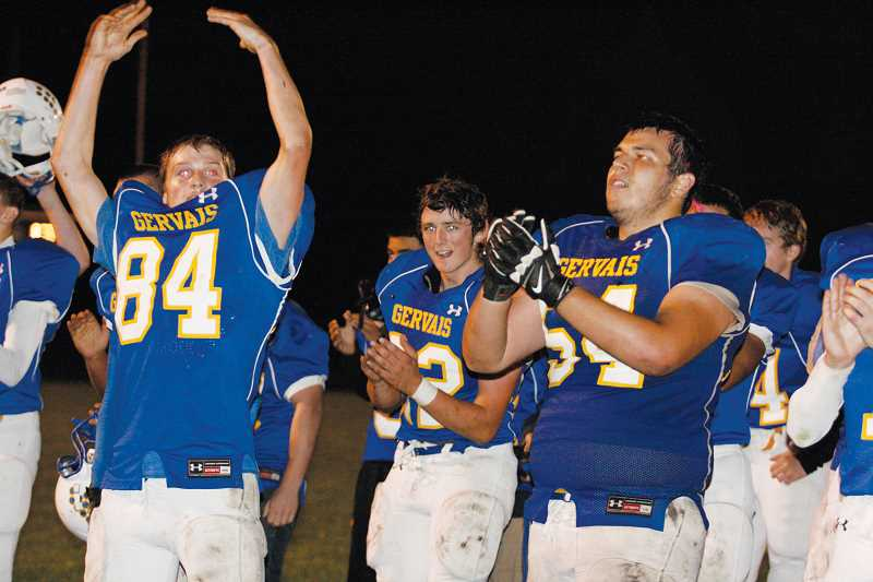 by: PHIL HAWKINS - Members of the Gervais football team thanked the crowd at the David Miller Memorial Field after their first victory of the year Friday night.