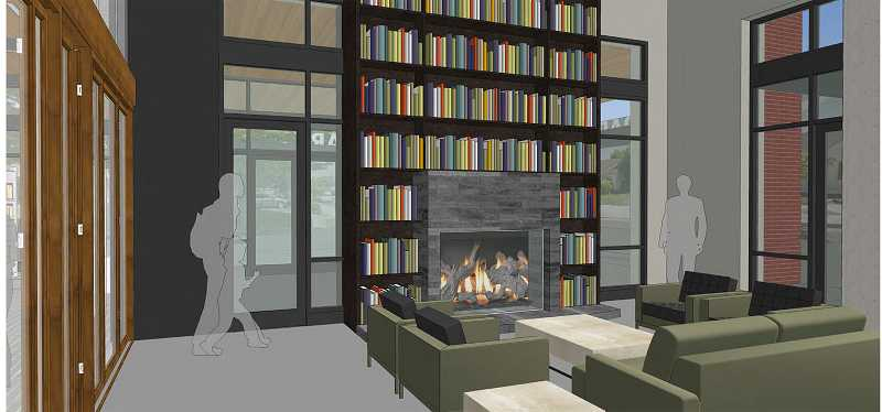 by: COURTESY OF SCOTT EDWARDS ARCHITECTURE - Renderings of what a new Cornelius Public Library might look like show several quiet nooks, such as this fireplace with couches.