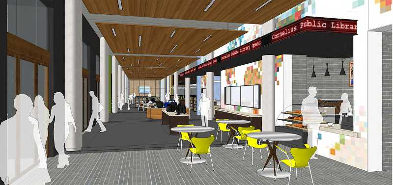 by: COURTESY OF SCOTT EDWARDS ARCHITECTURE - This rendering of the initial view upon entering the proposed new Cornelius library shows a cafe to the right, a community room to the left and a technology center at the end of the long, open corridor.