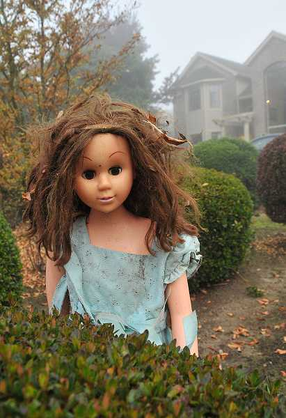by: TIDINGS PHOTO: VERN UYETAKE - A doll displayed in the yard is meant to depict a character from one of Matthew Knowles' favorite movies, The Shining.