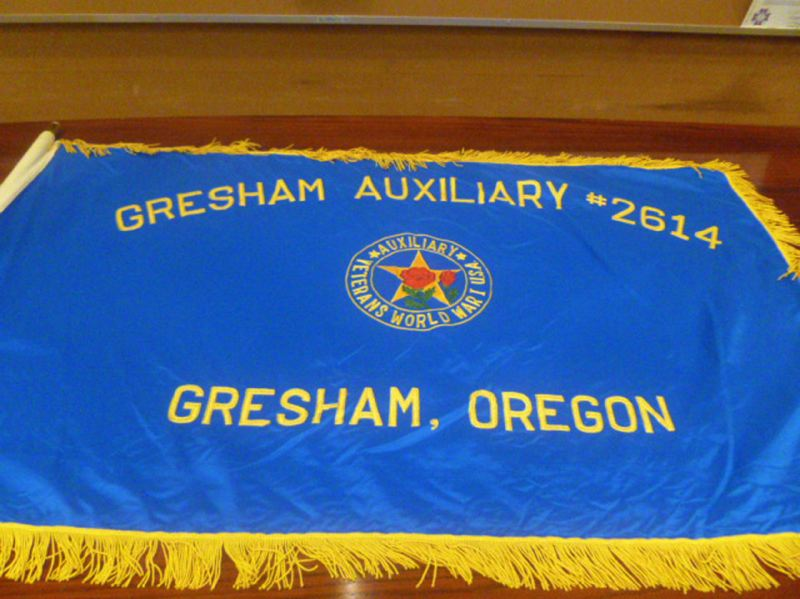 by: CONTRIBUTED PHOTO - Members of the Gresham United VFW Post No. 180 recently discovered a World War I Womens Auxiliary flag they had never seen before.