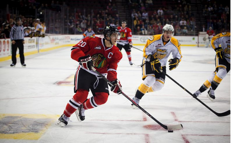 by: TRIBUNE PHOTO: ADAM WICKHAM - Portland Winterhawks captain Taylor Leier skates in on the Brandon Wheat Kings net as the Hawks win 5-2 Wednesday night at Moda Center.