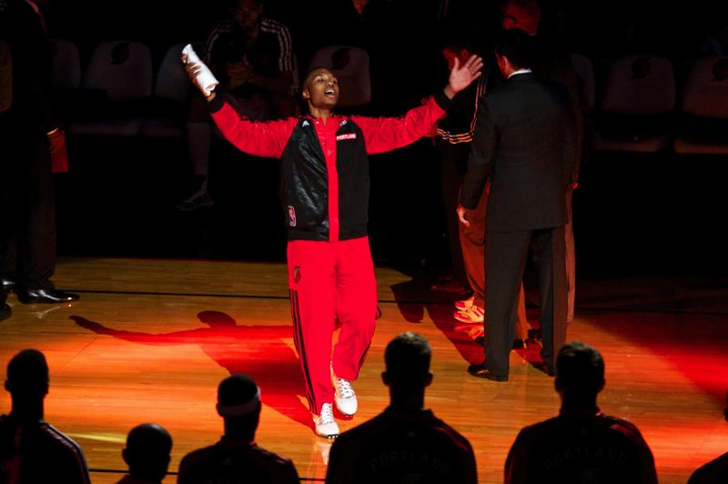 Damian Lillard, Blazers guard and 2012-13 NBA rookie of the year, is introduced to the crowd at Moda Center before Portland's home opener Saturday versus the San Antonio Spurs.
