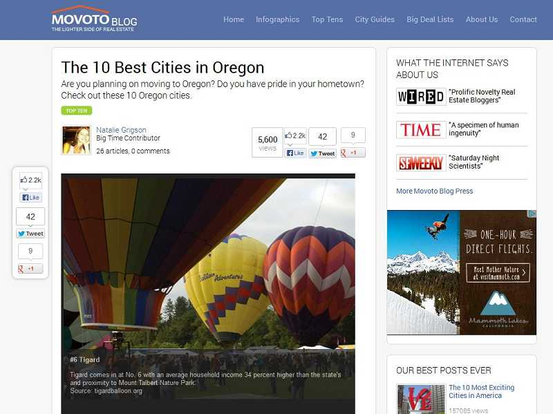 (Image is Clickable Link) Movoto Real Estate blog has named Tigard and Sherwood some of the best places to live in the state of Oregon.
