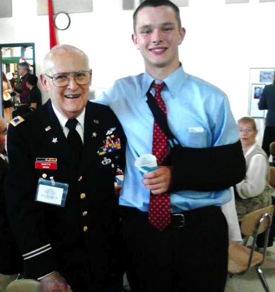 by: CONTRIBUTED PHOTO: CONOR STEWART - Last year, junior and student body officer Conor Stewart connected with Art Martin, a retired principal and veteran of the Marines, Air Force and National Guard.