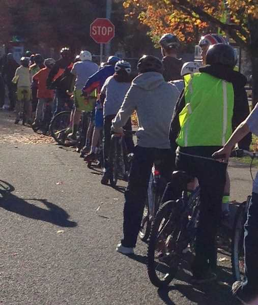 by: SUBMITTED PHOTO - Eighth-graders line up on their bikes in front of a stop sign in Wilsonville.