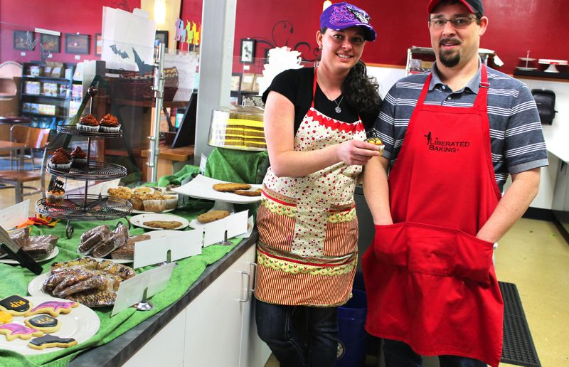 by: OUTLOOK PHOTO: ANNE ENDICOTT - Tonda Burgin and Christopher Royce opened Liberated Baking as a way to offer foods made specifically for the dietary restrictions of people with gluten and dairy allergies. Burgins daughter was diagnosed with gluten intolerance five years ago.