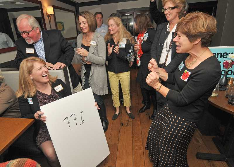 by:  VERN UYETAKE - Chairwoman of the school levy campaign Audrey Monroe, left, celebrates with former Lake Oswego School Board member Linda Brown as the election results came in.