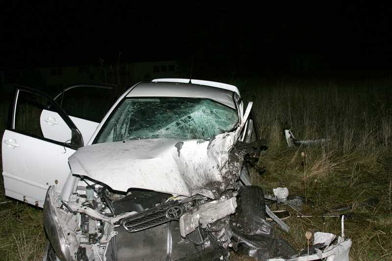 by: COURTESY OF  CLACKAMAS COUNTY SHERIFF'S OFFICE - Both vehicles involved in the fatal head-on collision were badly damaged. One driver died in the wreck and the other was released at the scene after being treated by emergency responders.