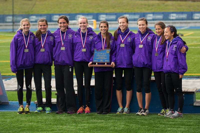 by: TIMES PHOTO: DAVID BLAIR - The Sunset girls cross country team took first overall at the 6A State Championships at Lane Community College on Saturday with 56 team points.