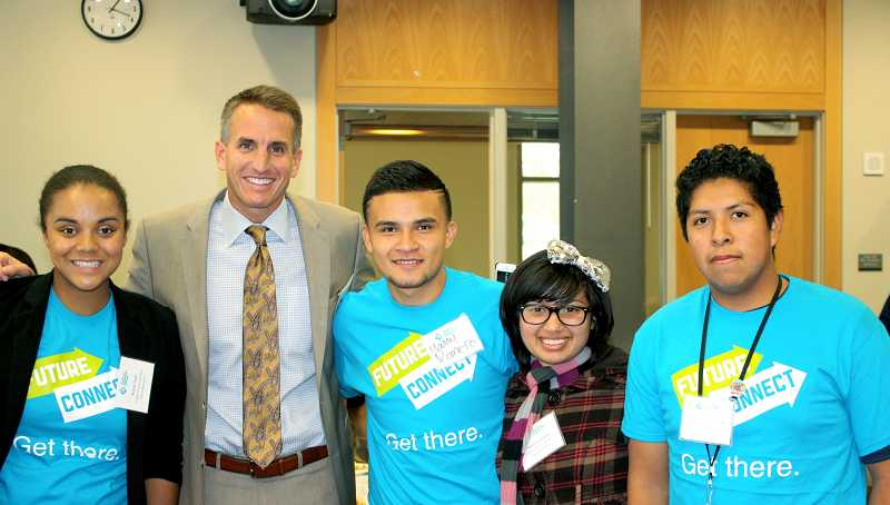 by: CONTRIBUTED PHOTO: KATE CHESTER - Beaverton schools Superintendent Jeff Rose greets Future Connect scholars Kesia Tosh, Manny Romero, Tatiana Umana and Cristian Perez-Vidal at Portland Community College.