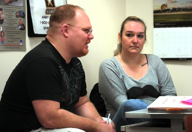 by: OUTLOOK PHOTO: JIM CLARK - Stefanie Donner, right, calls veteran services a second family.