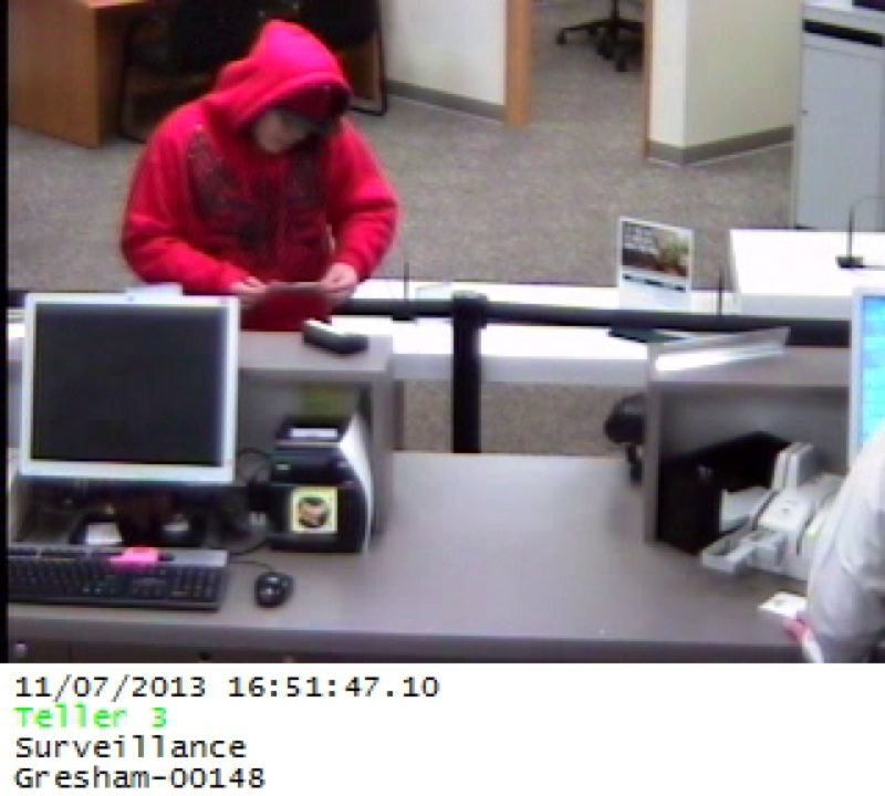 by: PHOTO COURTESY OF GRESHAM POLICE DEPARTMENT - This man is being sought in connection with the Thursday-evening robbery of a Bank of the West branch in Gresham.