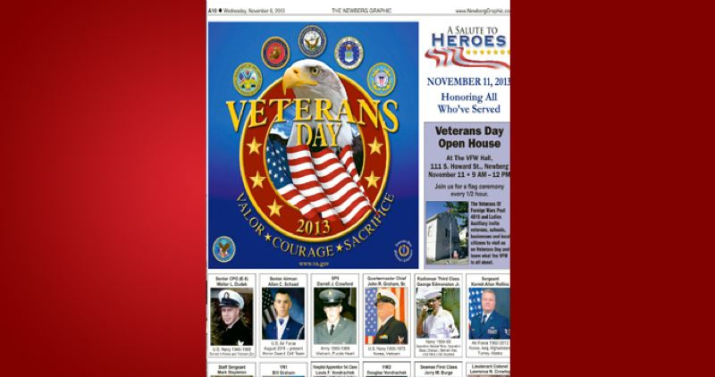 (Image is Clickable Link) by: PAMPLIN MEDIA GROUP - Veterans Day 2013 Newberg Graphic