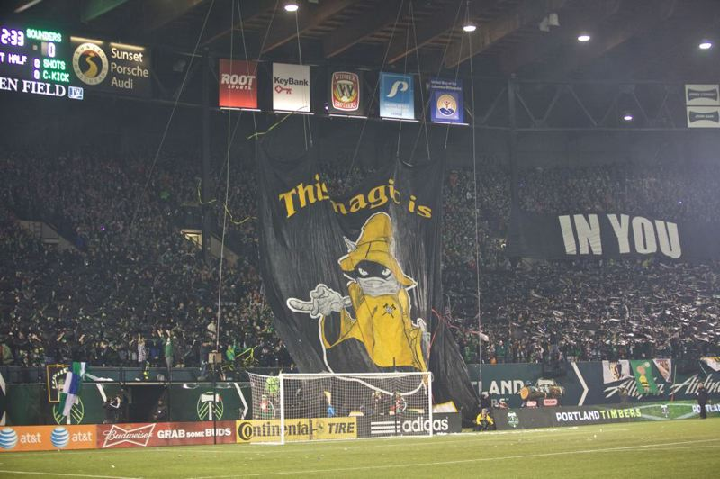 Timbers fans display a tifo.