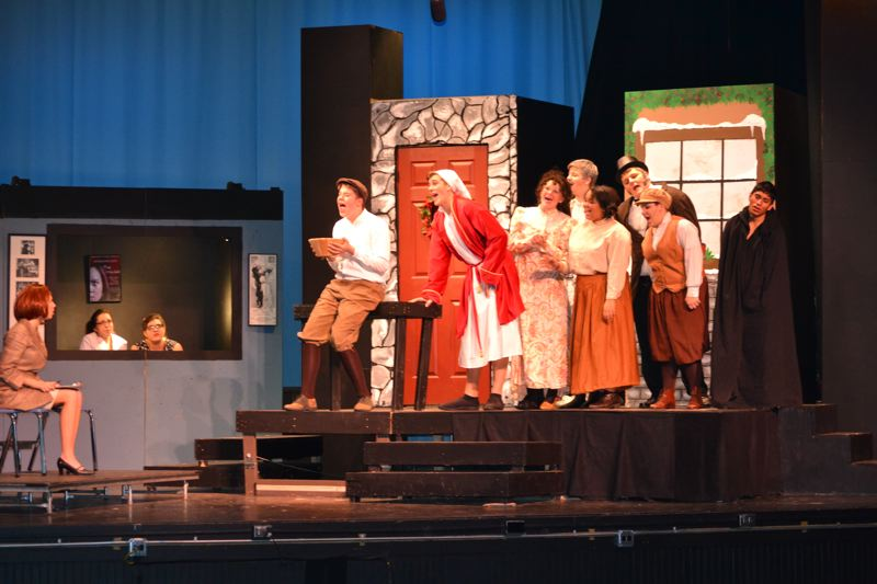 by: CONTRIBUTED PHOTO - Students at Barlow High School rehearse a scene from Inspecting Carol, a comedic play detailing a production that goes terribly wrong.